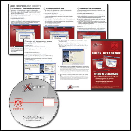 Quick reference guide and CD design for Dodge software