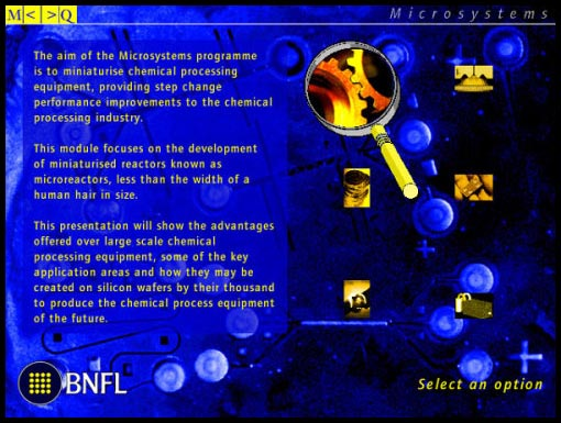 Interactive media design for BNFL: microsystems